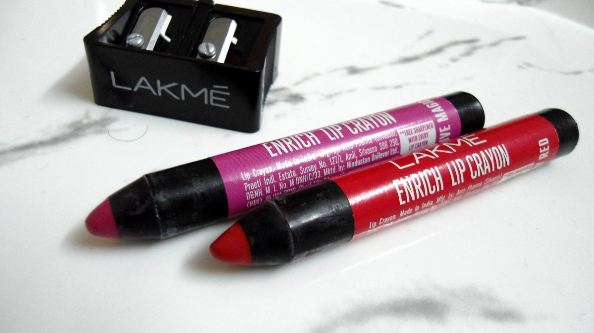 Lakme Enrich Lip Crayons - Berry Red and Mauve Magic Review, Swatches