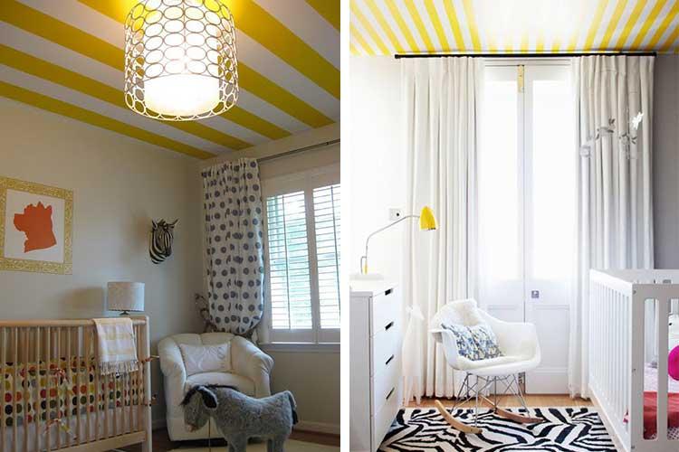 Sarı ve beyaz çizgili tavanlar