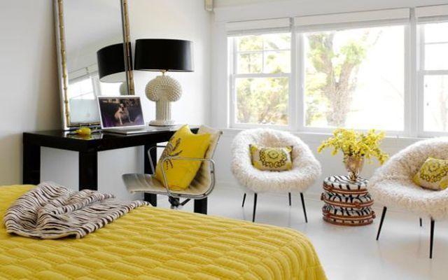 sarı yatak odası dekorasyonu