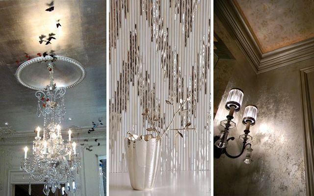 Gümüş yüzeyli ev dekorasyonu