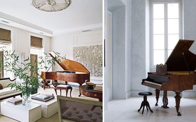 Kuyruklu piyanolarla dekorasyon fikirleri