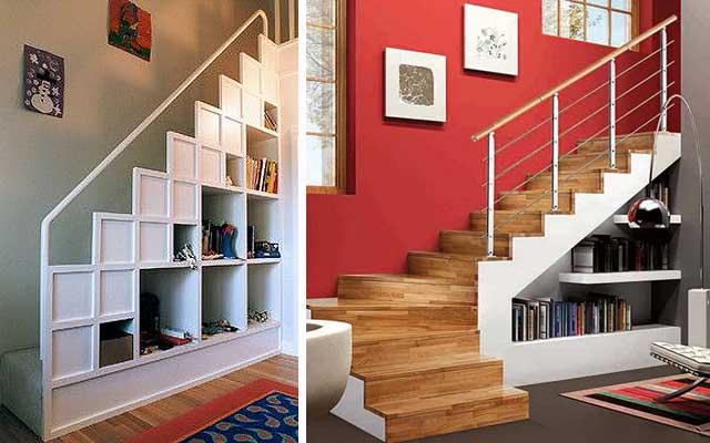 Merdivenlerin altındaki alandan nasıl yararlanılır: Raflar