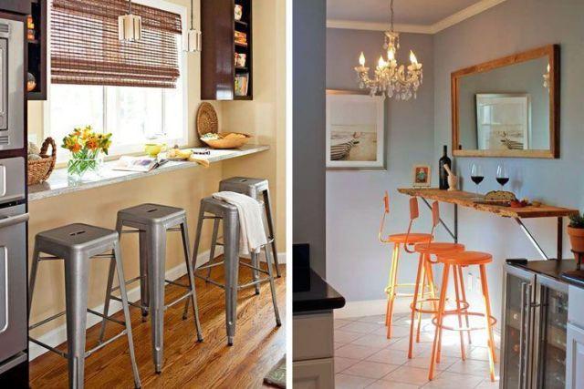 Yemek için barı olan küçük mutfaklar