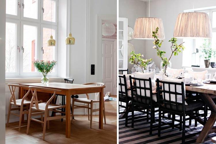 İki lambalı yemek odalarının dekorasyonu