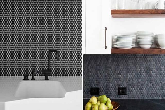 Banyo ve mutfaklar için siyah dekoratif karolar