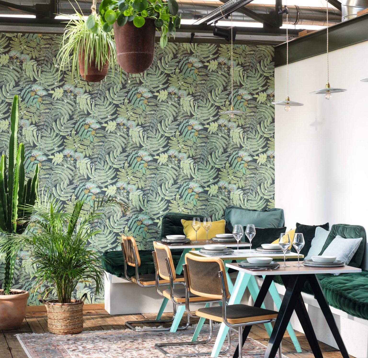 Papier peint floral botanica vert menthe