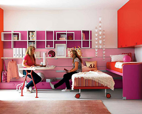 orange purple and pink design ideas for small teenage girls room