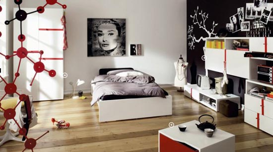 black and white design ideas for small teenage girls room