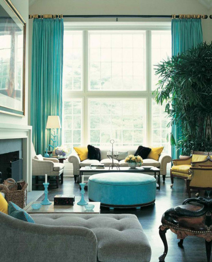 teal decorating ideas for living room stone accent wall in 26 amazing color schemes decoholic turquoise and yellow scheme
