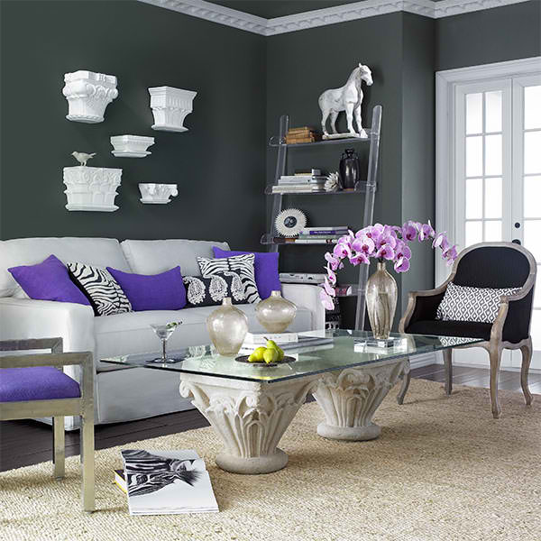 Grey And Purple Colour Schemes For Living Rooms