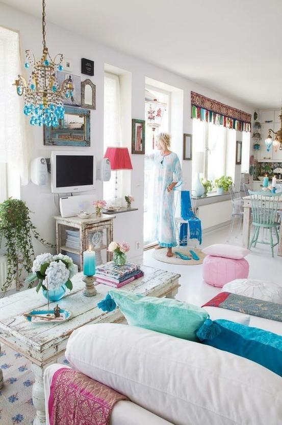 Teal Ornaments Living Room