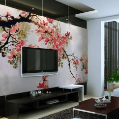 Wall Mural Ideas For Living Room Furniture In Small 10 Designs With Unexpected Murals Decoholic Chinese Cherry Blossom