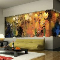 10 Living Room Designs With Unexpected Wall Murals