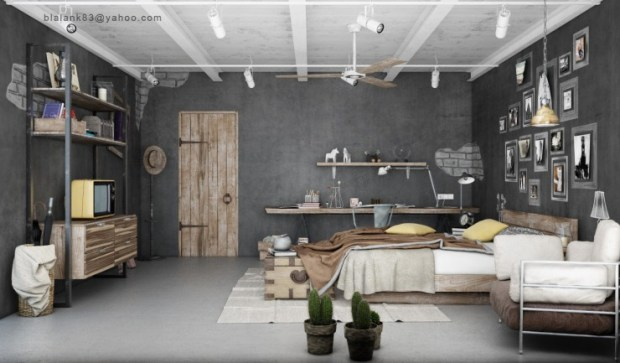 Industrial Country Decor Rustic Bedroom Color Scheme with Theatre Track Lighting Shelving and Fake Exposed Brick