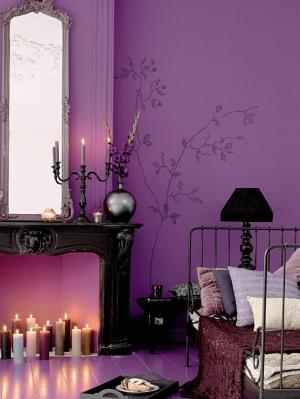 purple bedroom decoholic via bed walls violet decor lavender themed wall theme decoration idea painted paint gothic interior lilac pretty