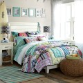 Combo of spring flowers bold geometric shapes and soft stripes