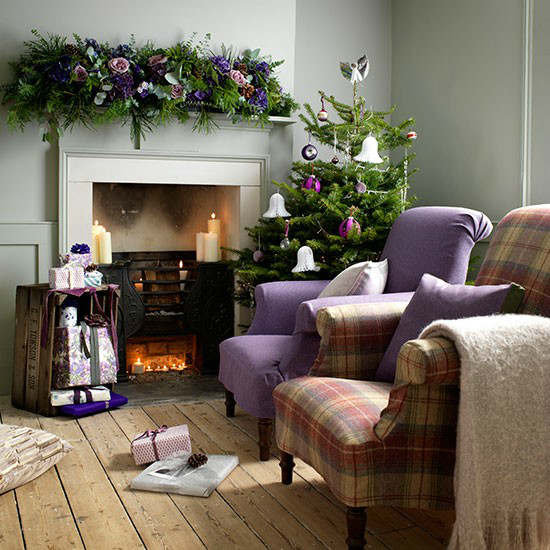country decorating ideas for living rooms swivel recliner chairs room 33 best christmas decoholic purple idea