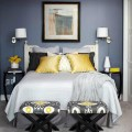 Mustard black cream and gray bedroom color scheme