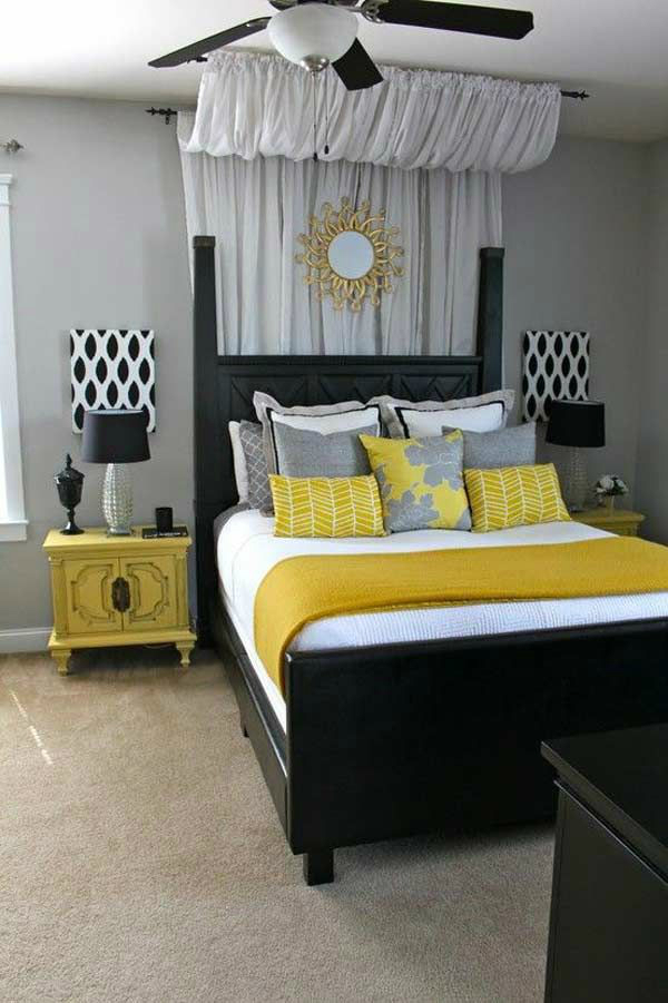 Gray Black And Yellow Bedroom Color Scheme