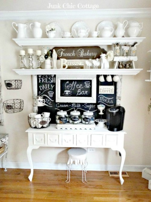 Home Coffee Bar White Espresso Station Chalkboard Paint Wall White Dishes Display