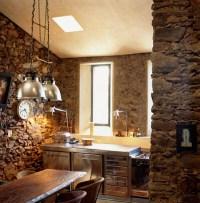 43 Kitchen Design Ideas with Stone Walls - Decoholic