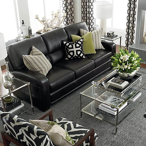 light gray leather reclining sofa grey white pillows how to decorate a living room with black ...