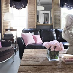 Living Room Decorating Ideas With Leather Furniture Printed Chairs How To Decorate A Black Sofa Decoholic Feminine Style Decoratin