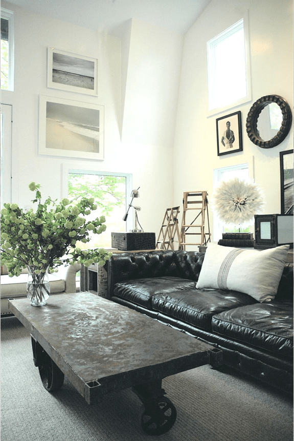 black leather living room best paint colors for behr how to decorate a with sofa decoholic industrial style and wal art collection decor
