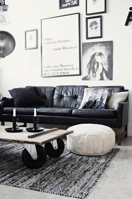 black leather sofa feather cushions smell how to decorate a living room with decoholic industrial style