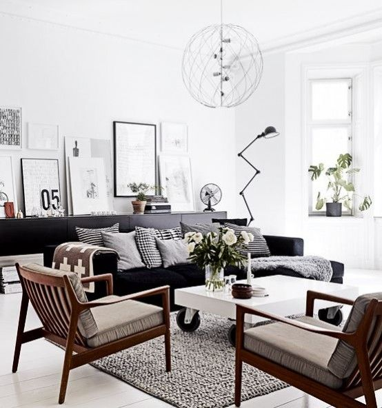 49 Black and White Living Room Ideas