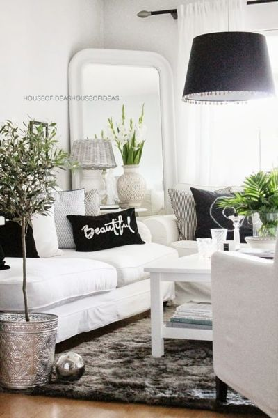 black white and gray living room 48 Black and White Living Room Ideas - Decoholic