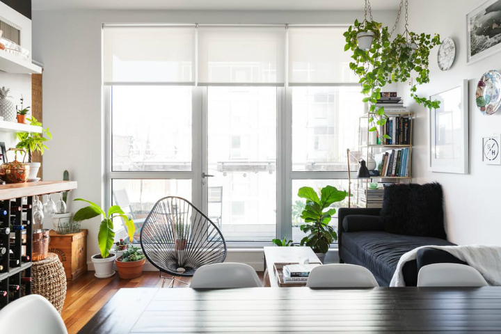 rattan living room chair white elegant furniture small and stylish apartment in brooklyn - decoholic