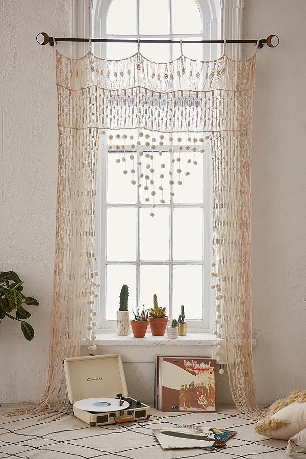 crochet bohemian bedroom curtain idea