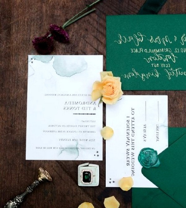 Emerald Green Harry Potter Themed Wedding Invitations