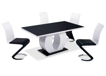 Table Noire Chaise Blanche | Meubles Salle A Manger