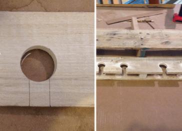 9. Utiliza la última madera separada para realizar los orificios para las copas. Procura hacerlos con el mismo diámetro de ellas, a aproximadamente 10 cm de distancia entre sí y de manera simétrica. 10. Marca los agujeros y córtalos con un taladro. 11. Luego, corta un rectángulo en la distancia entre el orificio realizado y la base de la madera para que quepa el pie de la copa, tal como puedes ver en la fotografía.