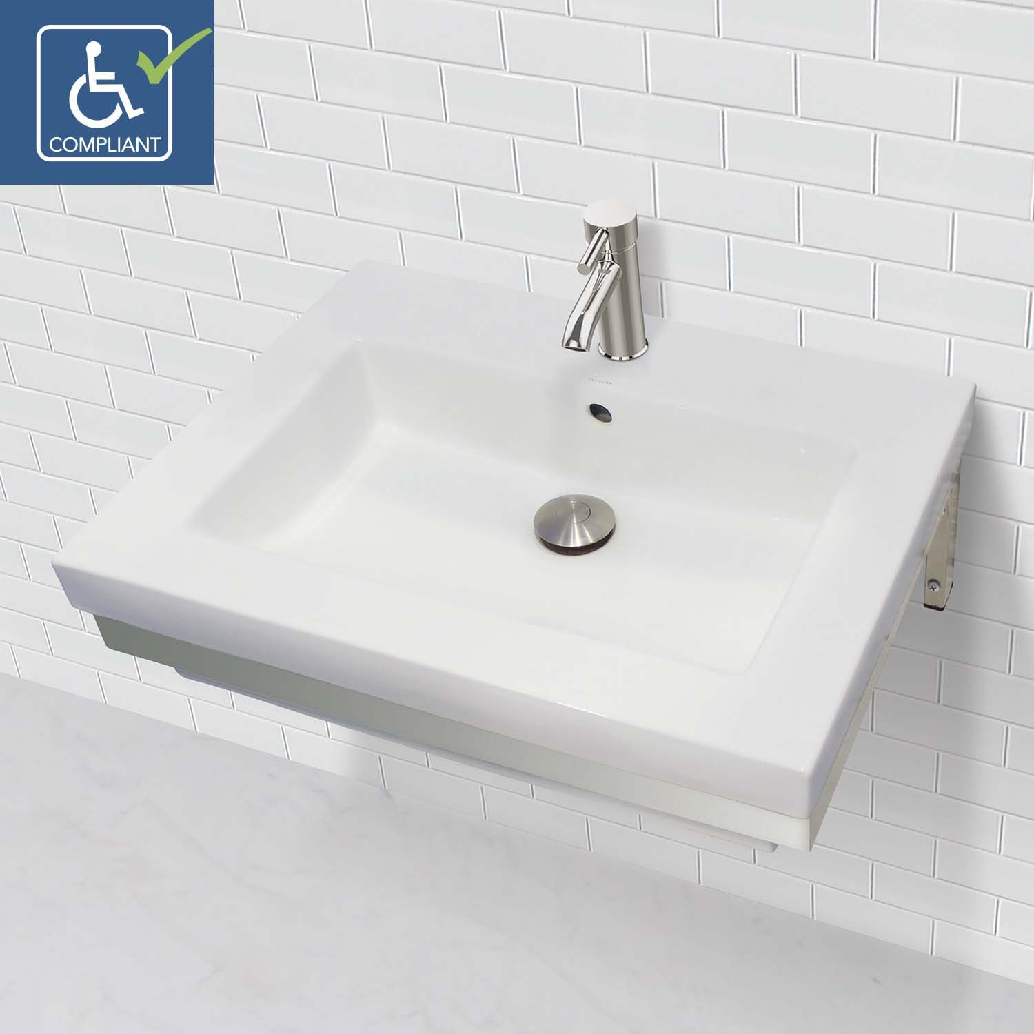 Rectangular Sinks Bathroom Decolav Coral 1819w 1b Cwh Wall Mount Rectangular Vitreous China