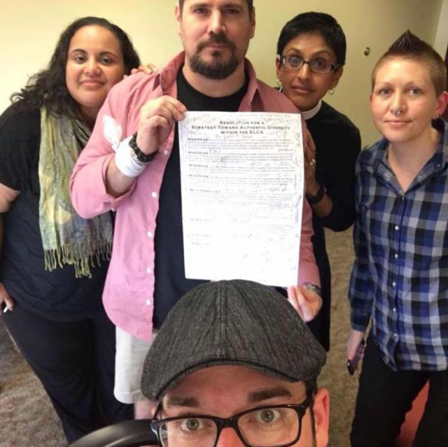 #decolonizers presenting the resolution at the Churchwide Offices, signed by #decolonize16 attendees.