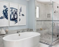 Bathroom art ideas with framed picture and light