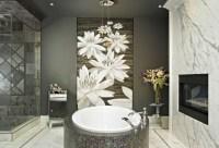 Bathroom art ideas with white flower wallpaper | Decolover.net