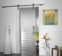Frosted glass sliding barn door style for bathroom entry ...