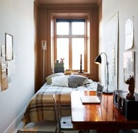 Uncluttered small bedroom decorating ideas with brown ...