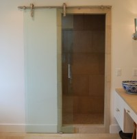 Barn sliding glass doors for bathroom ideas