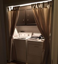 Brown laundry room curtains ideas with wooden rods ...