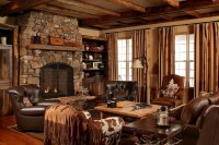 French country style living room with fireplace ...