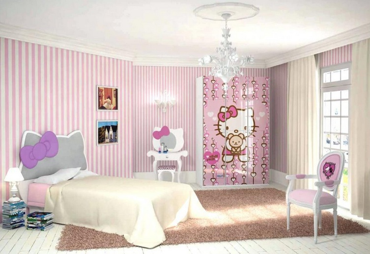 Pink And White Striped Walls Hello Kitty Bedroom For