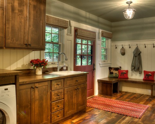 painted kitchen chairs pre rinse faucet brick flooring and red cabinet for rustic laundry ...