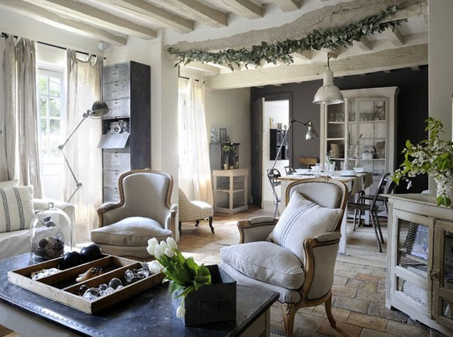 shabby chic living room decorating ideas how to decorate a with fireplace in the middle decor half black wall paint and brick floor