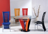 Colorful dining chairs with contemporary round glass ...