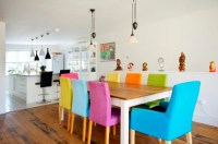 Colorful dining chairs with wooden dining table ...